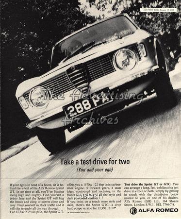 Magazine Advert Alfa Romeo 1960s