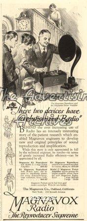 Magazine Advert Magnavox Radios 1920s